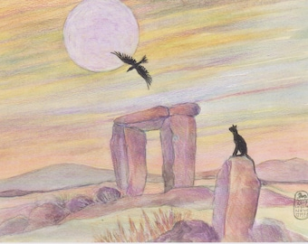 Just Passing By, cat and crow art print with standing stones and moon