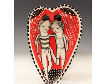 BFF - Valentines Bowl - Original One of a Kind Painting by Jenny Mendes in a Ceramic Pinched Heart Bowl