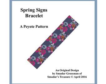 Beading Pattern, Odd Count Peyote Stitch, Cuff Bracelet Pattern  / Spring Signs Bracelet / Floral Flowers, Off Loom Beadweaving Beadwork