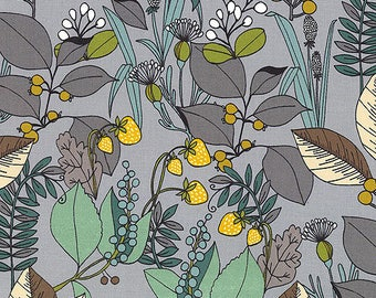 Fabric by the Yard --  Ghastlie Botanical in Ash Grey