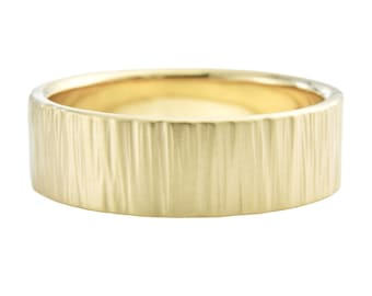 14K Gold Mens Birch Wedding Band, 7mm Mens Textured Wedding Ring, 14K Gold Men's Wedding Ring, Hammered Ring