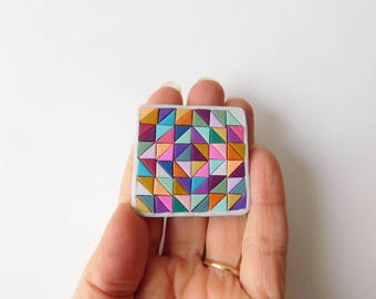 Mini Quilt polymer clay mosaic refrigerator magnet