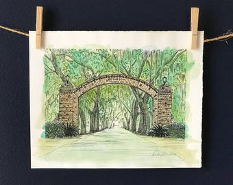 Bethesda Gate Savannah Watercolor Print - Hand Painted Pen and Ink Fine Art Print
