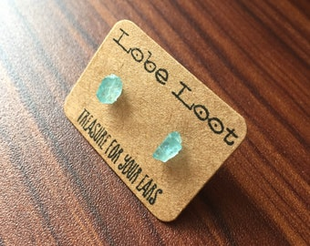 Raw Rough Blue Apatite Hypoallergenic Stud Earrings