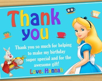 Alice in wonderland thank you card, Alice wonderland Thank you card, mad hatter thank you card - Digital file