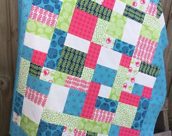 Tide Pool Lap Quilt Top - Unfinished / Moda - Kate Nelligan / gift for her / ready to quilt / pink, blue, green, crabs, starfish, ocean
