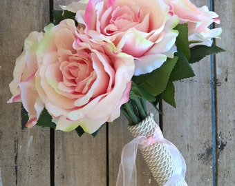 SPECIAL OFFER!!! Pink Roses Bridal Bouquet - Elegant Bouquet - Romantic Wedding Bouquet - Light Pink Roses Bouquet