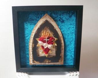 Immaculate Heart of Mary Mixed Media Shrine Shadow Box