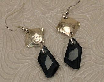 Blue Crystal Sterling Earrings