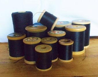 13 vintage Shades of Black Thread Spools