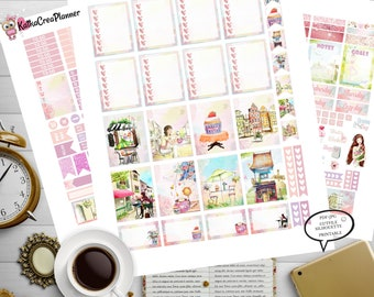 Summer Day Watercolor Planner Stickers, Planner Stickers for Erin Condren Planner, Spring Printable Stickers, EC Vertical Weekly Kit