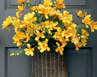 Yellow Cosmos Door Basket