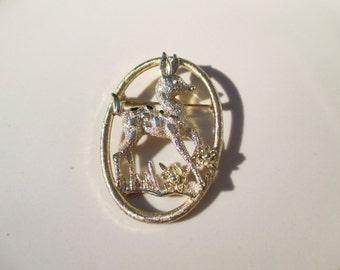Vintage Sarah Coventry Little Doe Gold Brooch Antique