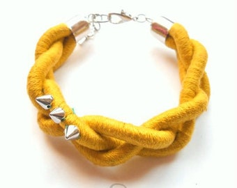 Yellow Mustard Braided Bracelet with spikes for her Birthday gift for sister fabric fashion spiked bracelets big braid rope jewelry Gifts