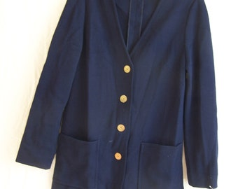 "Marchesa di Griesy I. Magnin blue blazer, sz. Small, 32"" chest"