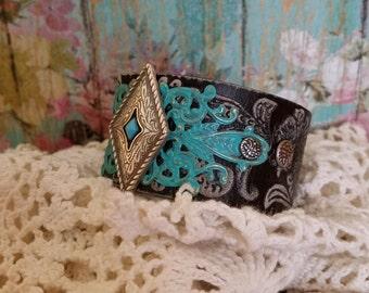 Silver & Turquoise Concho Black Leather Cuff Bracelet> Native Jewelry/ Southwestern/ Boho Bracelet/ Country Style/ Wristband/Leather Jewelry