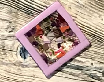 Purple, pink and green fused glass plate