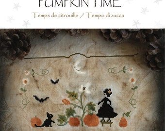 PUMPKIN TIME - official printed cross stitch pattern, The Snowflower Diaries, sampler, cross stitch, witch, halloween, autumn, embroidery