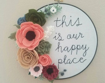 felt floral hoop art/gallery wall/ housewarming gift/ embroidery/holiday gift