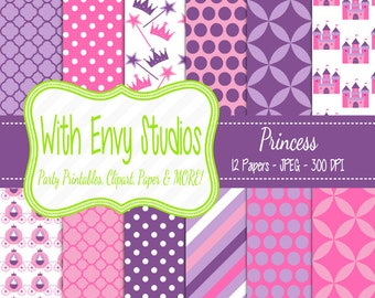 SALE Princess Scrapbook Paper - Princess Digital Paper - Princess Paper Pack - Pink Paper - Purple Paper - Commercial Use
