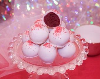 Red Velvet Cake Truffles, White Chocolate Cake Balls,  Red Velvet Desserts