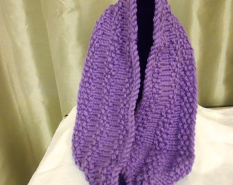 Hand Knit Purple Bulky Weight Cowl