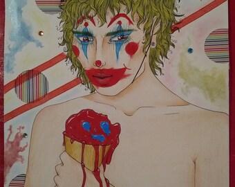 Taste of Reality - Clown Painting Original Piece