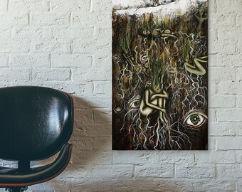Mixed Media Tree Art  - Surreal Mixed Media Art - Large Giclee Art Print - Tree Talker Art