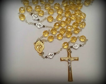 Fire Polished Gold Czech Glass Rosary, Miraculous Medal, Gold and Silver Crucifix
