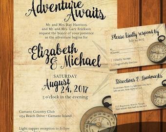 Adventure Awaits Wedding Invitation / Wanderlust Wedding Suite / Travel Wedding Invitation / Wanderlust  / Rustic / Wedding Invitation