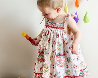Girls dress sewing pattern Daisy Sundress, girls sundress pdf pattern in 4 versions sizes 6-9 months to 8 years