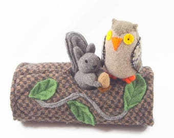 Hollow Log Animal Home, Log only, waldorf toy, all natural toy, eco friendly toy, felted wool toy, pretend woodland toy, animal play,