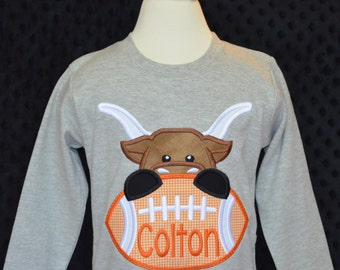 Personalized Football Longhorn Face Applique Shirt or bodysuit