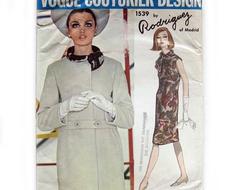 1960s Vintage Vogue Couturier  Sewing Pattern - Rodriquez of Madrid - Mod Dress and Coat / Size 12 UNCUT FF with Tag