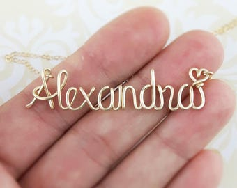 Name Necklace Gold 14K, Custom Name Necklace, Personalized Name Necklace, Bridesmaid Necklace, Personalized Name Jewelry Gifts Under 30