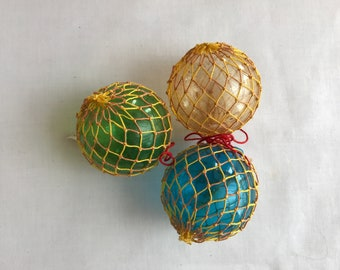 Vintage Japanese glass fishing float with netting Christmas tree ornaments