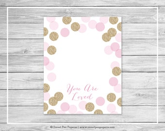 Pink and Gold Baby Shower Guest Book - Printable Baby Shower Guest Book - Pink and Gold Glitter Baby Shower - Baby Shower Guest Book - SP106