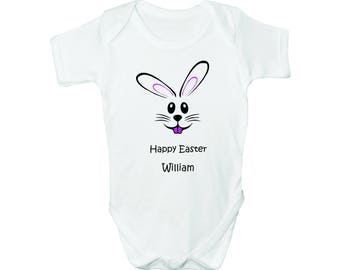 Happy Easter with Custom Name, Bodysuit, Romper, Baby clothes
