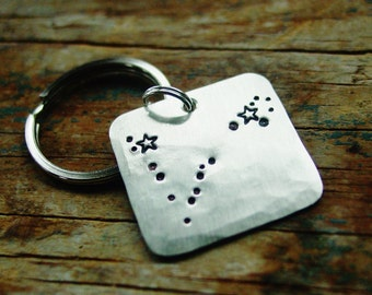 Pisces Gifts, Pisces Constellation Keychain, Star Sign, Hand Stamped, Astrology, Astronomy, February Birthday Gift, March Birthday Gift