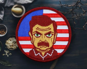"Bacon, Wood and Whiskey Patch | Sew On | Embroidered | Patches for Jackets | 2.75"" (Free Shipping US)"