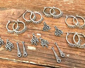 Lot of earring findings, 10 pair of earring sets for jewelry making, beading