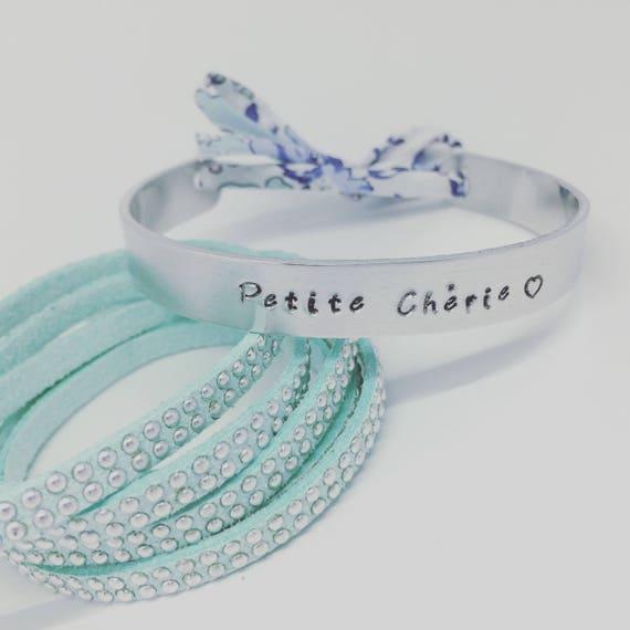 PERSONALIZED Bangle - Personalized Bracelet Liberty of London - fine silver cuff Bangle with Ribbon