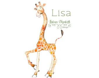 Giraffe Lisa 3, beige, Watercolor Clipart, Baby, Child, Fun, Craft