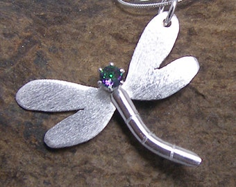 Sterling Silver Dragonfly Mystic Topaz Necklace