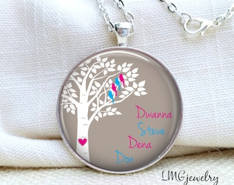Family Tree with Birds Pendant Necklace Mother's Day Family Tree Necklace