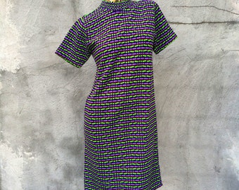 60s Purple Lavender Lime Green Orlon Shift Dress small medium large