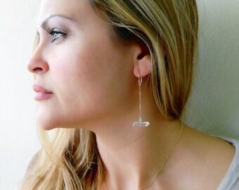 Crystal Quartz Dangle Earrings, Dainty Earrings, Healing Crystal Quartz, Minimal Earrings, Dangle Earrings