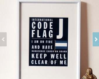 Letter J - Bus Roll International Code Flag - I am on fire and have dangerous cargo on board keep well clear of me