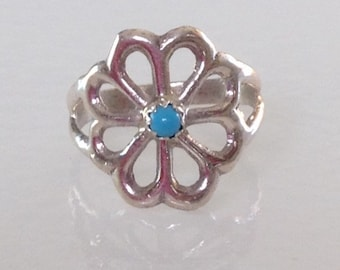 Native American Sandcast Navajo Turquoise Sterling Silver Ring Size 6.5