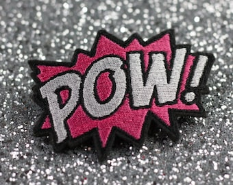 POW Hair Clip, Comic Book Hair Barrette, Hot Pink and White